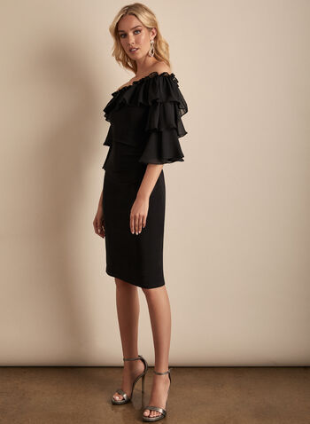 Joseph Ribkoff - Ruffle Sleeve Dress, Black,  spring summer 2020, 3/4 sleeves, ruffle detail, sheath silhouette, chiffon, boat neck