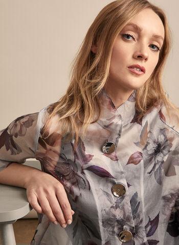 Joseph Ribkoff - Floral Organza Jacket, Grey,  jacket, floral, organza, tulip sleeves, metallic, spring summer 2020