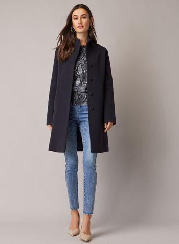 Mallia - Manteau en laine et cachemire mélangés, Bleu,  automne hiver 2020, manteau, poches, laine, cachemire, Mallia