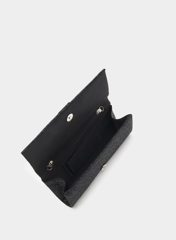 Sac pochette de soirée avec cristaux , Noir