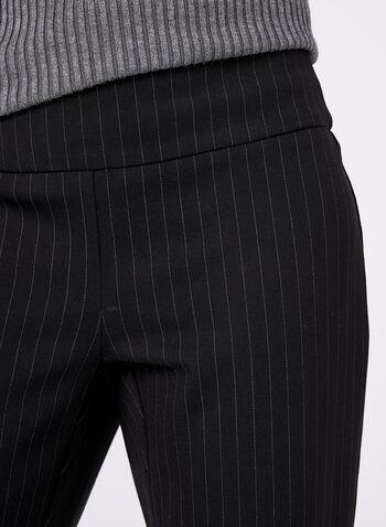 Pantalon jambe étroite à fines rayures, Noir, hi-res