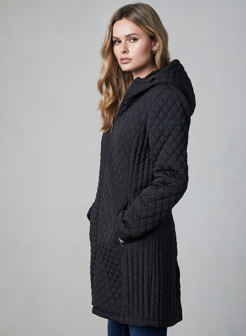 BCBGeneration - Hooded Quilted Coat, Black,  fall winter 2019, BCBG, quilted, hooded