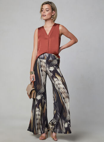 Compli K - Feather Print Wide Leg Pants, Black, hi-res,  abstract print, jersey, palazzo, fall 2019, winter 2019, pull-on