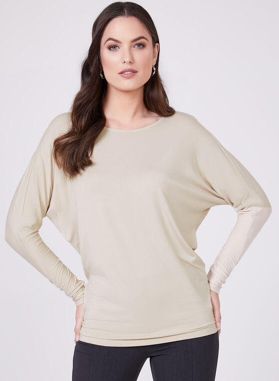Basic Long Sleeve Top, Off White, hi-res