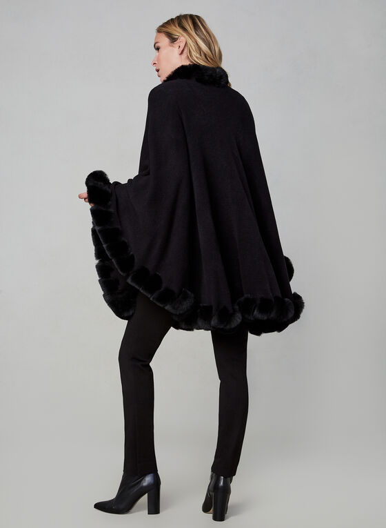 Faux Fur Trim Poncho , Black