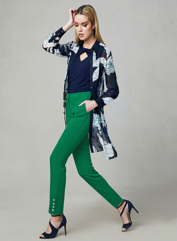 Button Detail Slim Leg Pants, Green, hi-res,