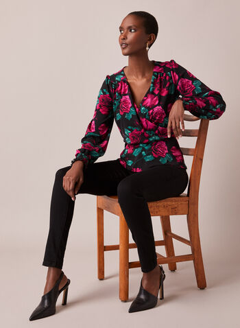 Floral Print Faux Crossover Top, Multi,  top, crossover, floral, v-neck, long sleeves, leg of mutton, crepe, fall winter 2020