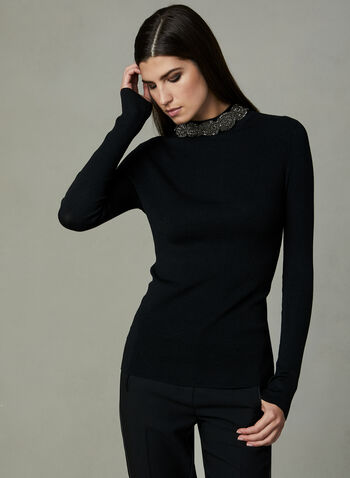 Frank Lyman - Beaded Mock Neck Sweater, Black, hi-res