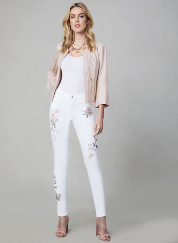 Frank Lyman - Embroidered Slim Leg Jeans, White, hi-res
