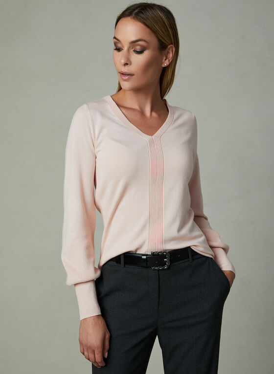 V-Neck Sweater , Pink, hi-res