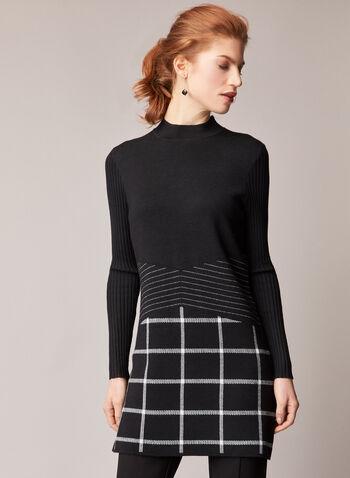Elena Wang - Mock Neck Tunic Sweater, Black,  fall winter 2020, sweater, tunic, long sleeves, checkered, stripe. stripes, holiday, holiday 2020
