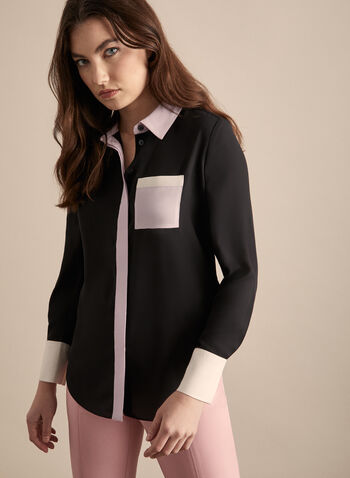 Colour-Block Crepe Blouse, Black,  blouse, long sleeves, buttons, colour block, patch pocket, crepe, spring 2020