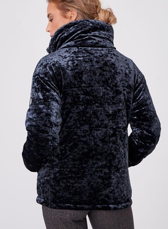 Bernardo - Manteau zippé polyfill en panne de velours , Bleu, hi-res