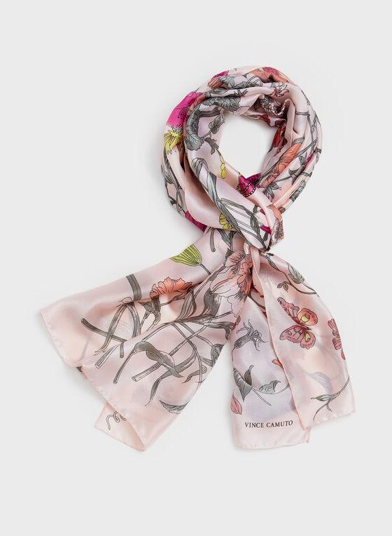 Vince Camuto - Floral Print Lightweight Scarf, Pink, hi-res