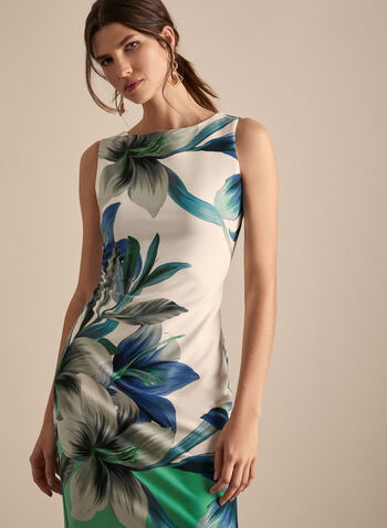 Flora Print Sheath Dress, White,  spring summer 2020, sleeveless, scuba fabric, floral print, sheath dress