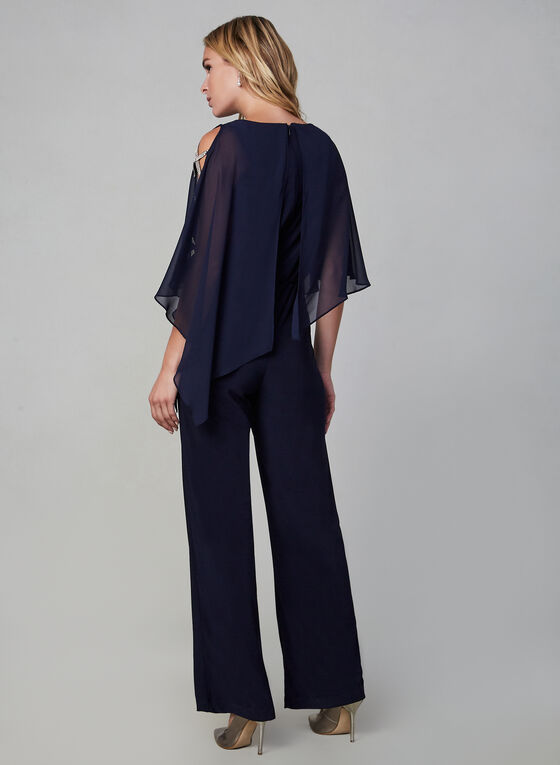 Xscape - Cold Shoulder Poncho Jumpsuit, Blue