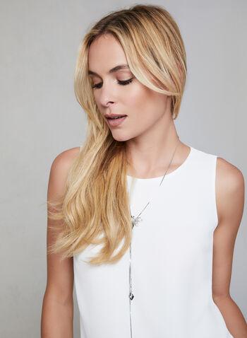Blouse sans manches en crêpe, Blanc cassé,  blouse, sans manches, col rond, ajour, automne hiver 2019