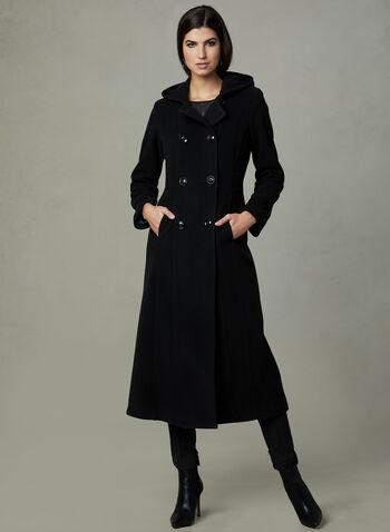 Anne Klein - Duffle-coat en laine et cachemire, Noir, hi-res
