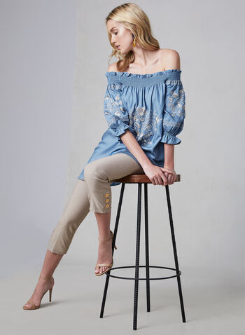 Linea Domani - Embroidered Off-the-Shoulder Top, Blue, hi-res,  cotton, spring 2019, floral, embroidery, tunic