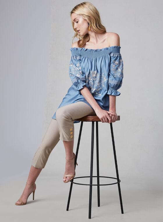 Linea Domani - Haut brodé à épaules dénudées, Bleu, hi-res
