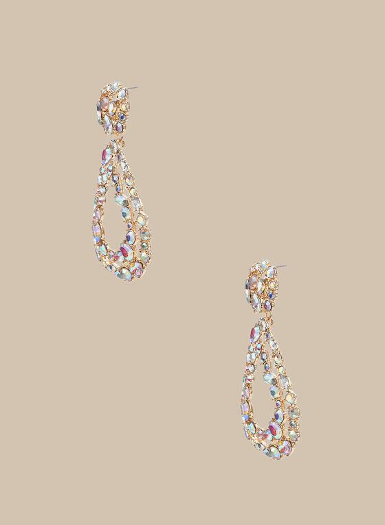 Mixed Crystal & Stone Dangle Earrings, Multi