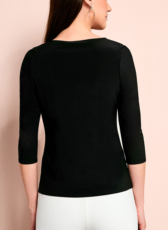 Round Neck Jersey Mesh Top, Black, hi-res