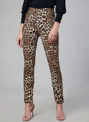 Joseph Ribkoff - Leopard Print Pants, Black, hi-res,  Joseph Ribkoff, slim fit, pants, leopard print, online exclusive, pull-on, elastic waist, fall 2019, winter 2019