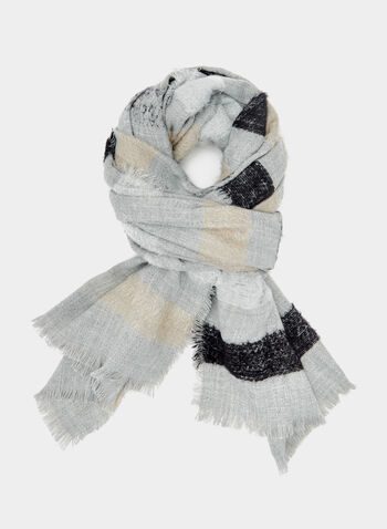 Stripe Print Scarf, Grey, hi-res