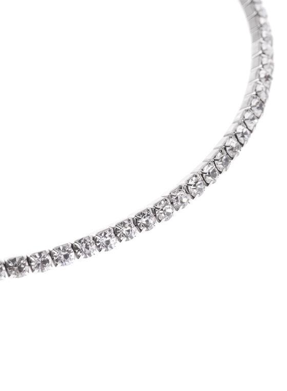 Crystal Choker Necklace, Silver, hi-res