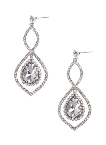 Crystal Teardrop Earrings, Silver, hi-res