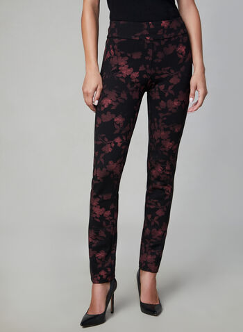 Madison Floral Print Pants, Black, hi-res,  slim leg, slim fit, pull-on, high rise, floral print, fall 2019, winter 2019