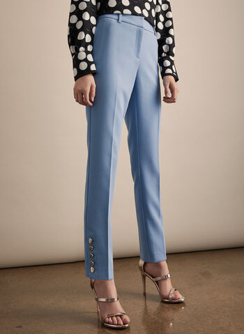 Giselle High Rise Pants, Blue,  pants, giselle pants, slim ankle, high rise pants, metallic, buttons, spring 2020. summer 2020