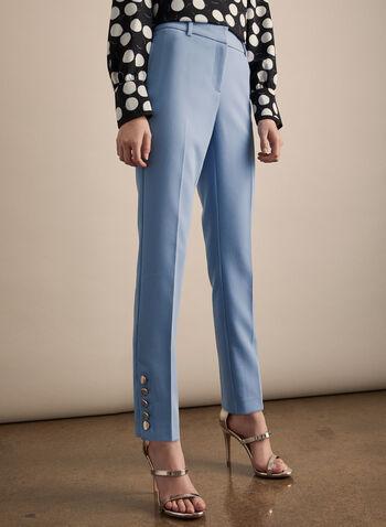 Pantalon coupe Giselle à boutons dorés, Bleu,  pantalon, giselle, jambe étroite, boutons dorés, pinces, poches, printemps été 2020