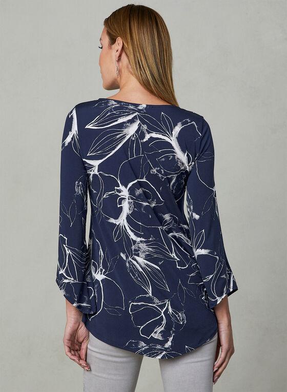 Floral Print Top, Blue, hi-res