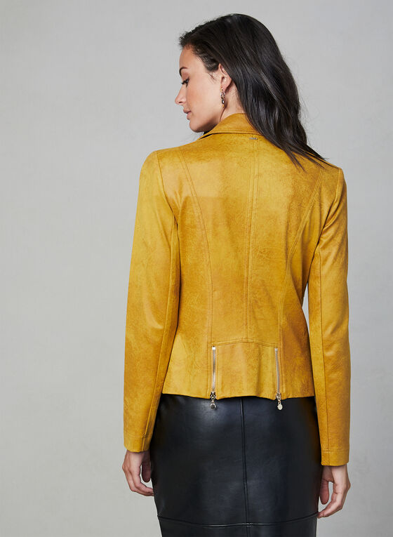 Vex - Faux Suede Zipper Trim Jacket, Gold