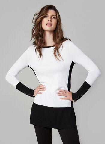 Colour Block Tunic Sweater, Black,  fall winter 2019, boat neck, zipper trim, long sleeves