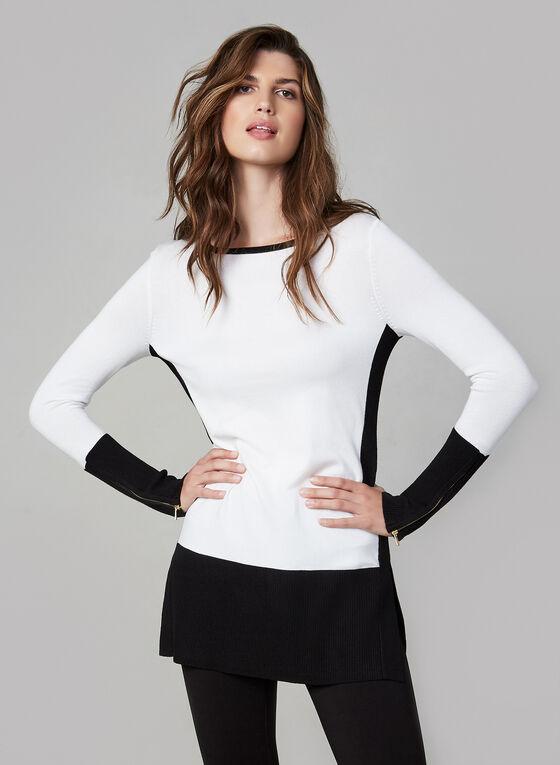 Colour Block Tunic Sweater, Black