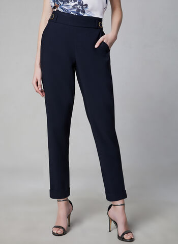 Pantalon pull-on à jambe étroite, Bleu, hi-res,  pantalon, pull, on, jambe étroite, illusion ceinture, longueur cheville, revers, printemps 2019