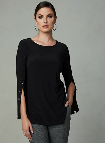 Slit Bell Sleeve Top, Black, hi-res
