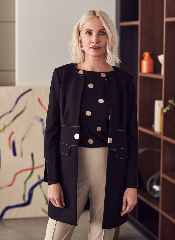 Veste redingote à coutures contrastantes, Noir