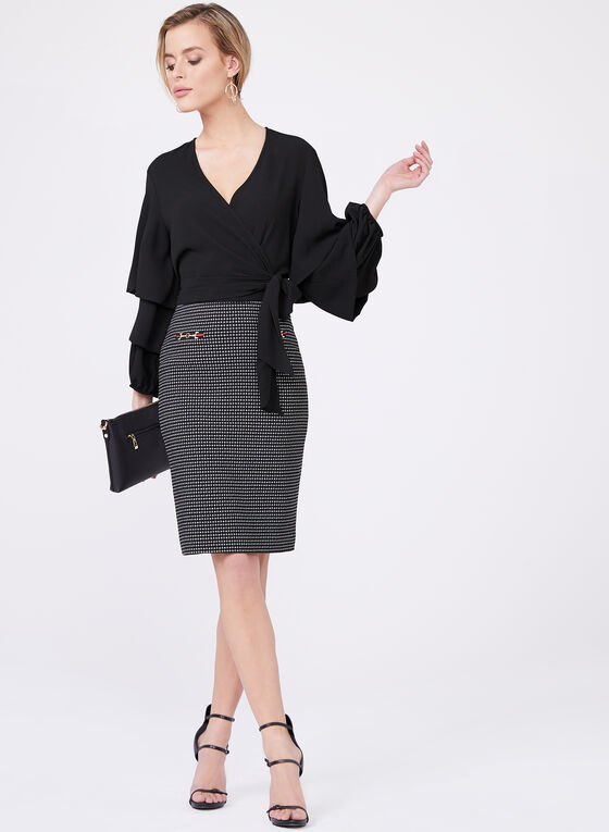 Jacquard Print Pencil Skirt, Black, hi-res