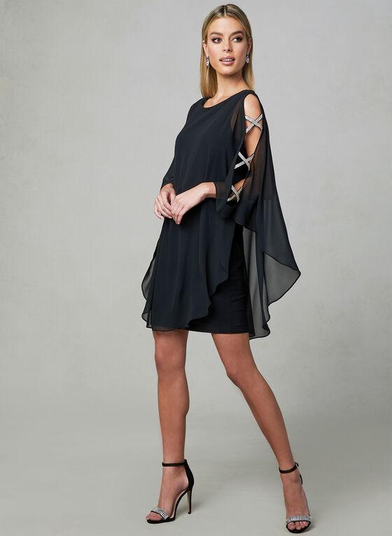 Xscape - Rhinestone Embellished Dress, Black, hi-res
