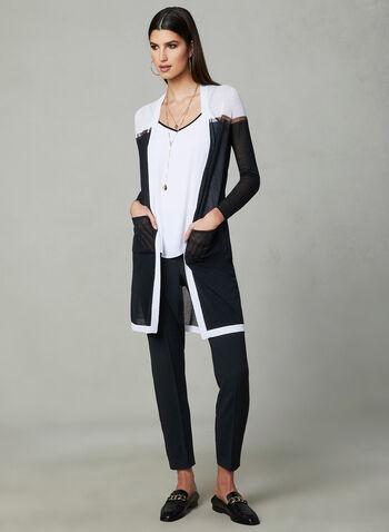 Cardigan long à blocs de couleurs, Noir, hi-res,