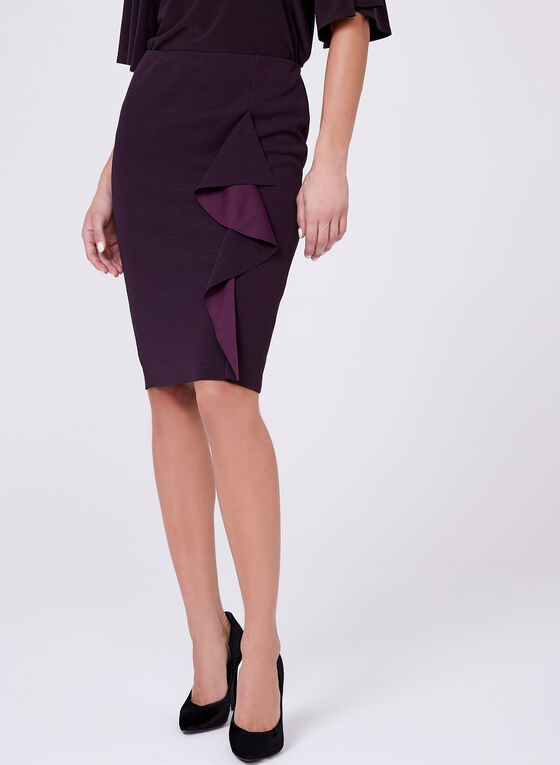 Ruffle Trim Pencil Skirt, Purple, hi-res