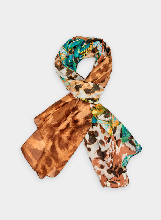 Foulard à imprimé de papillons et motif léopard, Brun