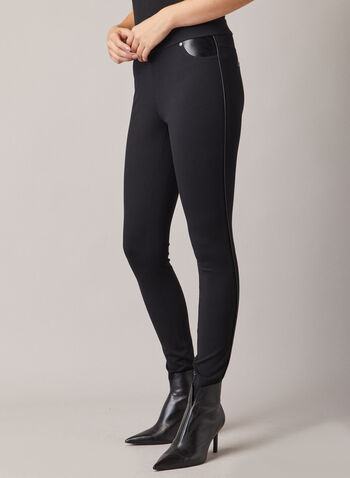 Leggings With Faux Leather Details, Black,  leggings, faux leather, ponte de roma, narrow, fall winter 2020, holiday, slim