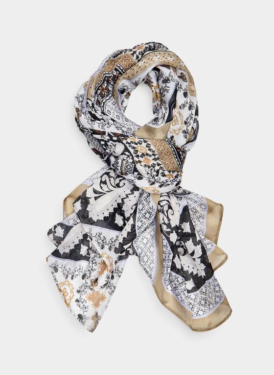 Foulard carré à motif mosaïque, Blanc cassé, hi-res