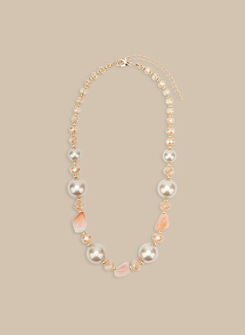 Mixed Bead & Pearl Necklace, Off White,  necklace, beads, pearls, pearl necklace, spring 2020, summer 2020