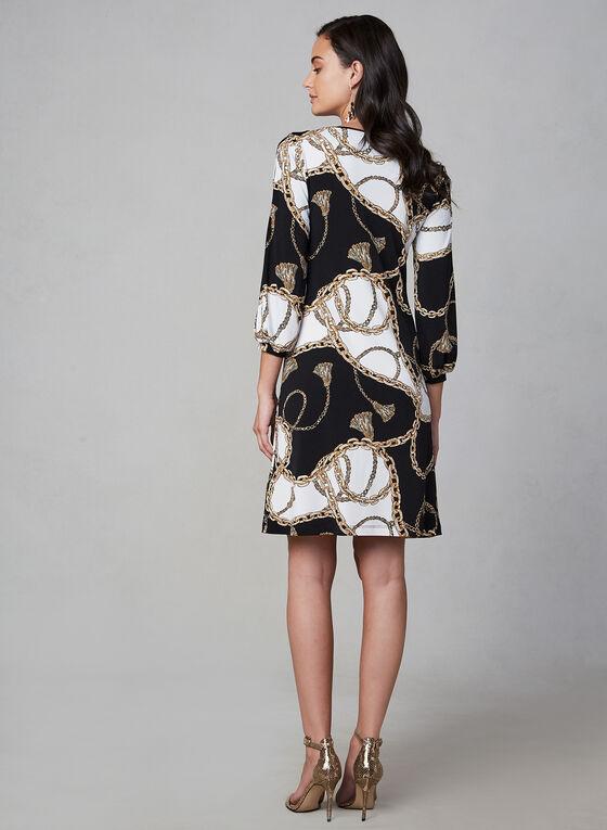 Robe motif chaînes à manches bouffantes, Noir, hi-res