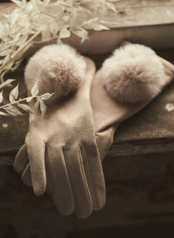 Faux Suede Pompom Detail Gloves, Off White,  gloves, faux suede, faux fur, pompom, fall winter 2020